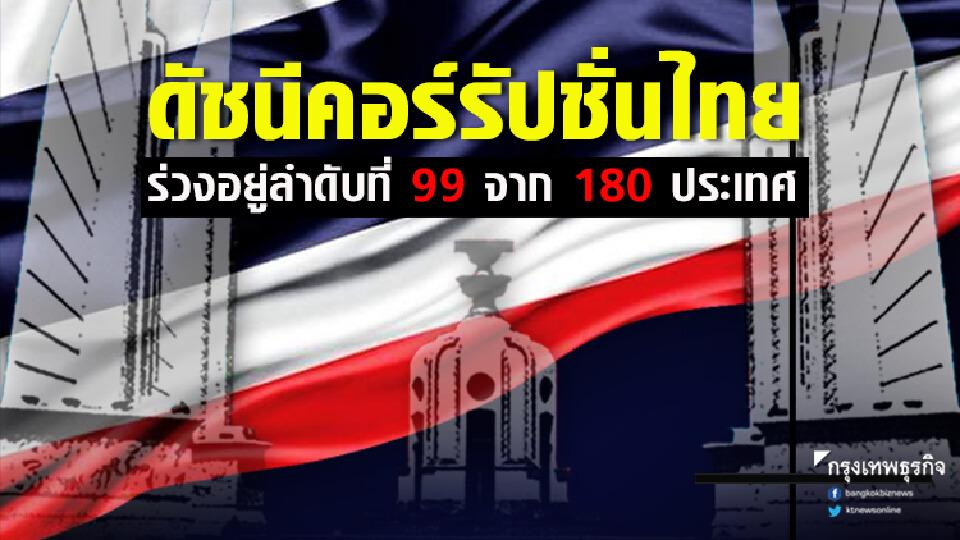 ดัชนีคอร์รัปชั่นไทยร่วงอยู่ลำดับที่ 99 จาก 180 ประเทศ