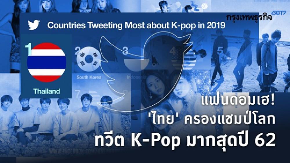 'ไทย' แชมป์ทวีต K-Pop มากที่สุดในโลก