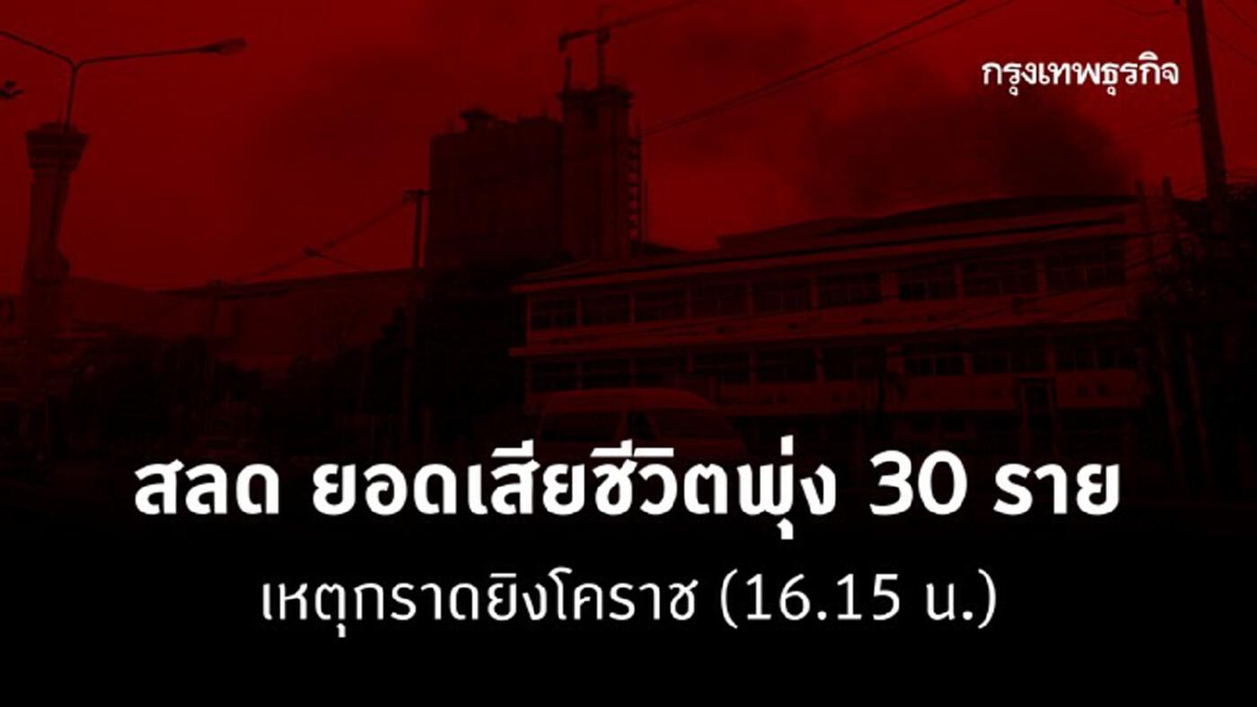 สลด ยอดเสียชีวิตพุ่ง 30 ราย เหตุกราดยิงโคราช (16.15 น.)