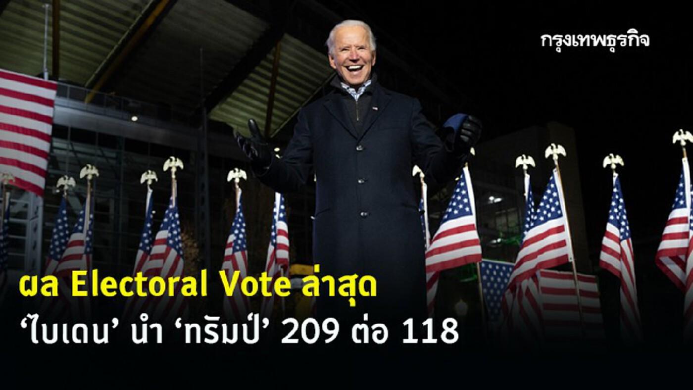 เปิดผล Electoral Vote ล่าสุดเลือกตั้งสหรัฐ 'โจ ไบเดน' นำ 'ทรัมป์' 209 ต่อ 118