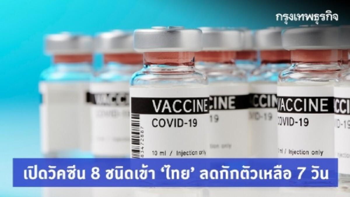 เปิดรายชื่อ 'วัคซีนโควิด' 8 ชนิดเข้า 'ไทย' ลดกักตัวเหลือ 7 วัน