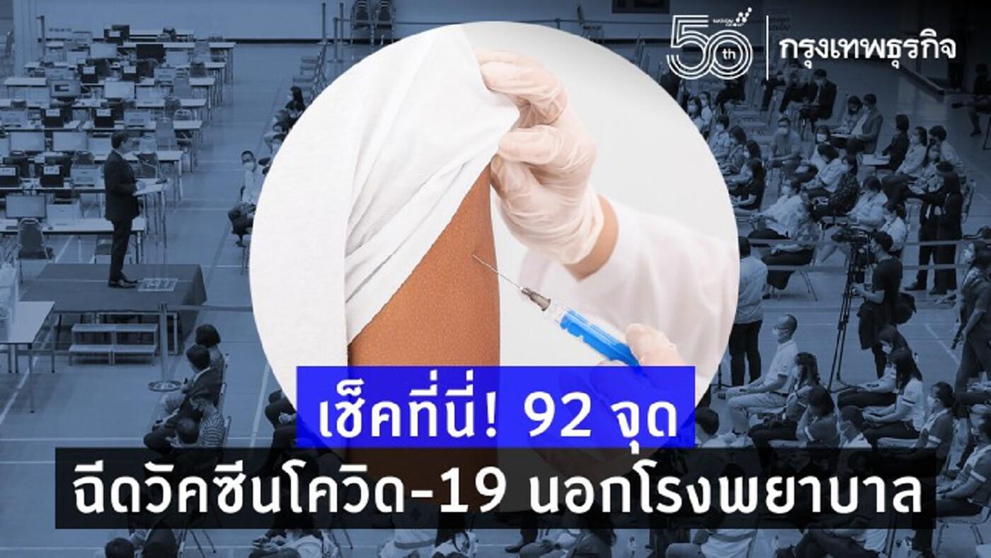 เช็คที่นี่! 92 จุด ฉีดวัคซีนโควิด-19 นอกโรงพยาบาล