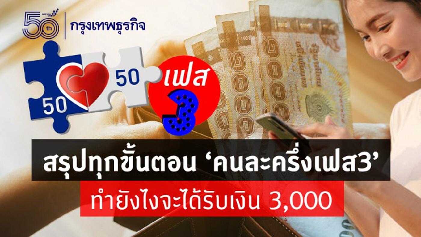 'คนละครึ่งเฟส 3' สรุปทุกขั้นตอน ลงทะเบียน www.คนละครึ่ง.com ยังไงเพื่อ รับเงิน 3,000