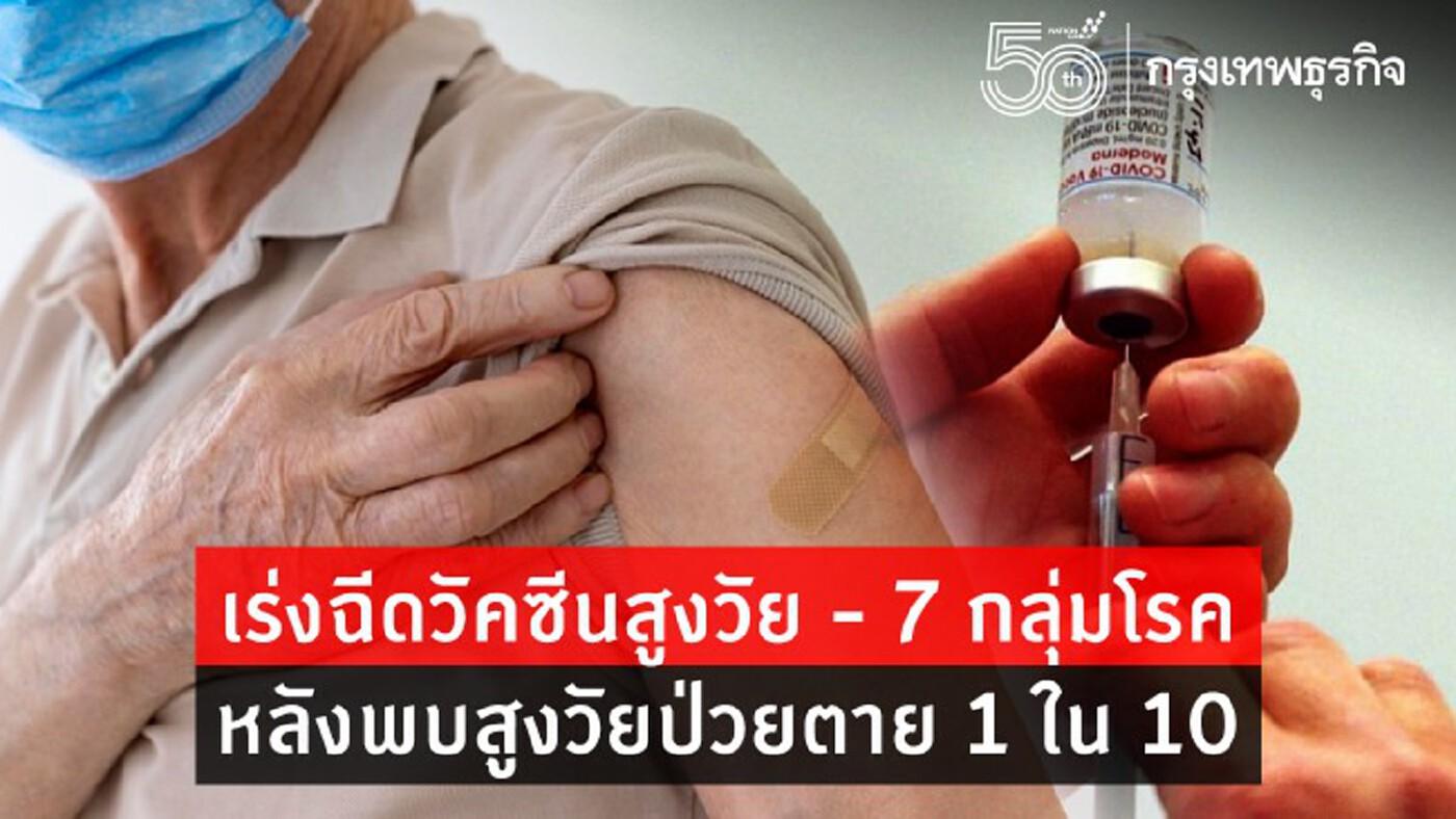 'สูงอายุ' ป่วยหนัก 10 เสียชีวิต 1 ราย เร่ง 'ฉีดวัคซีน' สูงวัย-7 กลุ่มโรค
