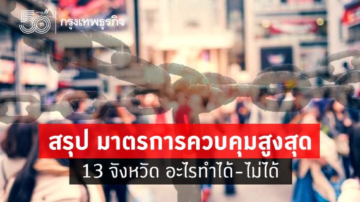 สรุป! 'ล็อกดาวน์' 13 จังหวัด 'พื้นที่สีแดงเข้ม' ประชาชน-กิจการ  ทำอะไรได้บ้าง?