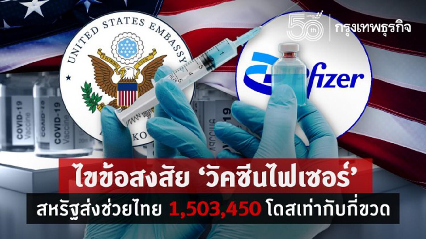 'สถานทูตสหรัฐ' ไขข้อสงสัย 'วัคซีนไฟเซอร์' 1,503,450 โดสมาจากไหน