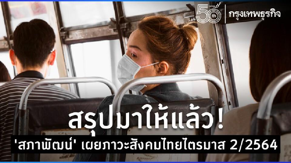 สรุปภาวะสังคมไทยไตรมาส 2/64 สภาพัฒน์ ชี้หนี้ครัวเรือนพุ่งอีก