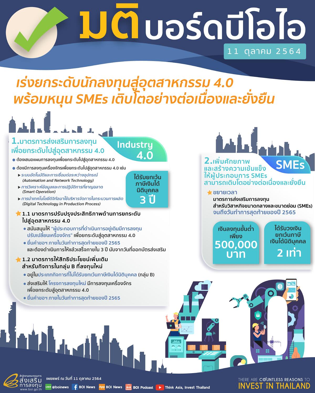 'บีโอไอ' เร่งยกระดับสู่ Industry 4.0 ต่ออายุมาตรการส่งเสริม SMEs ถึงปี 65
