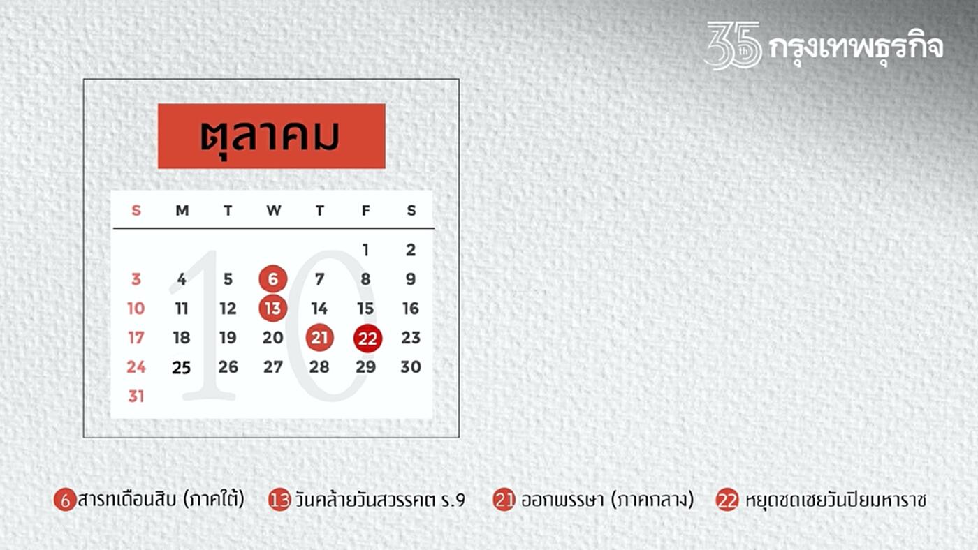 """""""วันหยุด"""" เดือนตุลาคม 2564 เปิดปฏิทินเช็คหยุดยาว มีวันไหนบ้าง?"""